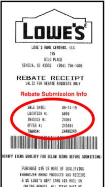 Lowes Rebate Receipt example